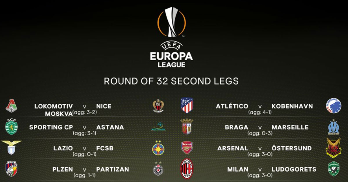 Europa League Round of 32 - Second Legs - 22 February 2018